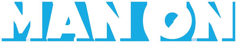 man on logo blue